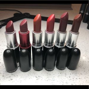 6 Mac Lipsticks in hues of Red